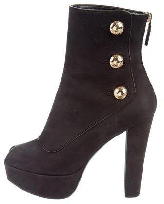 Louis Vuitton Suede Platform Ankle Boots