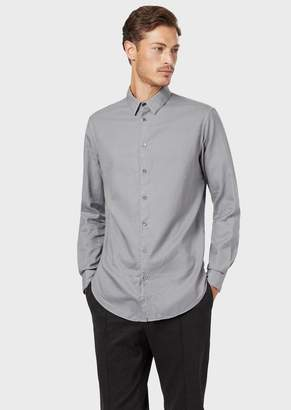 Giorgio Armani Classic Slim-Fit Shirt Made Of Exclusive Micro-Textured Garment-Dyed Fabric