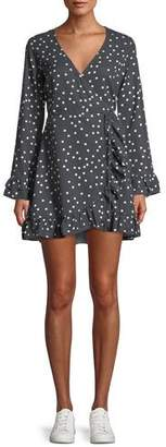 DL1961 Premium Denim Ainsley Long-Sleeve Polka-Dot Mini Wrap Dress