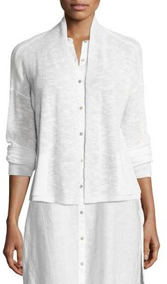 Eileen Fisher Linen-Blend Ribbed Cropped Cardigan, Denim $168 thestylecure.com