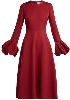 Roksanda Aylin Bell Sleeve Cady Dress - Womens - Burgundy