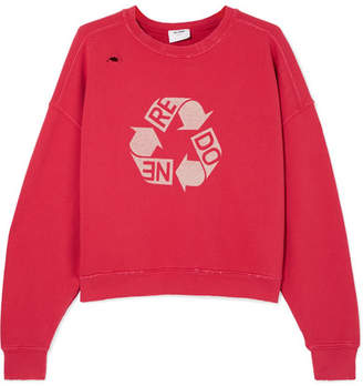 RE/DONE Cropped Distressed Printed Cotton-jersey Sweatshirt - Red