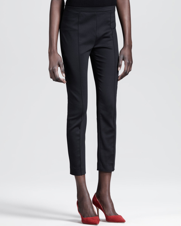 The Row Seamed Stretch Poplin Skinny Pants