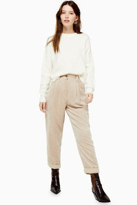 Topshop Womens Tall Stone Casual Corduroy Tapered Trousers - Stone