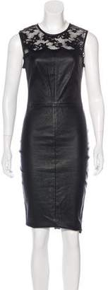 Robert Rodriguez Leather Lace-Trimmed Dress