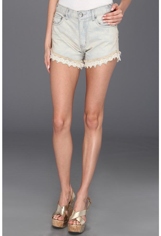 Free People Railroad Lacey Cutofff Short (Pacific Wash) - Apparel