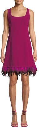 Nanette Lepore Provocative Sleeveless Dress with Dyed Feather Hem