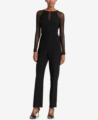 Lauren Ralph Lauren Mesh-Panel Jersey Jumpsuit $169 thestylecure.com