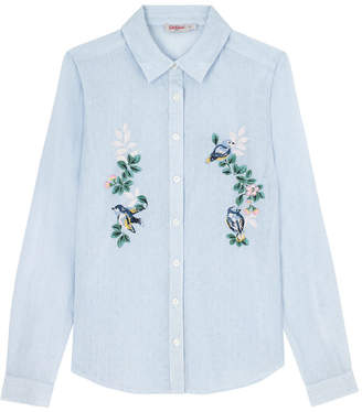 Cath Kidston Spring Birds Cotton Stripe Shirt with Embriodery