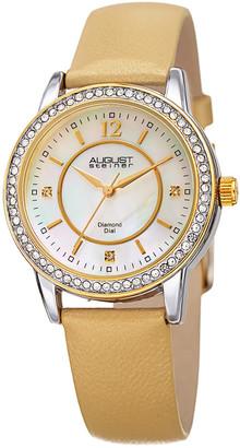 August Steiner Women's Leather Diamond Watch