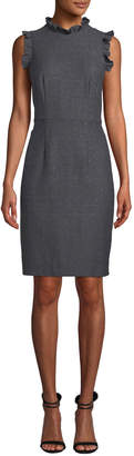 Rebecca Taylor Sleeveless Ruffle Herringbone Sheath Dress