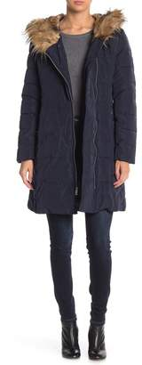 Cole Haan Faux Fur Trim Hooded Coat