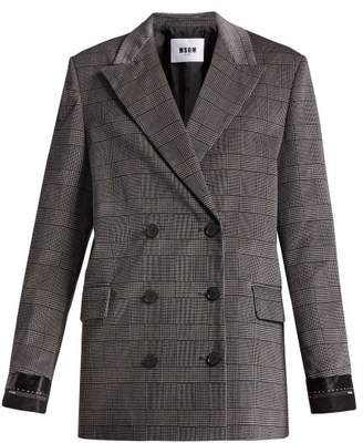 MSGM Prince Of Wales Checked Brushed Velvet Blazer - Womens - Grey