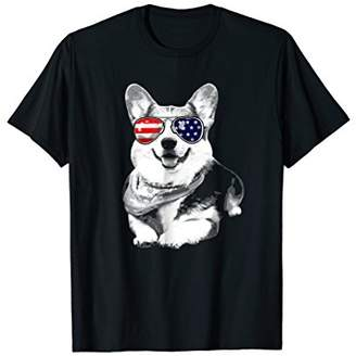 Corgi American Flag Sunglasses tshirt 4th of July Gift