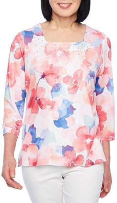 Alfred Dunner Classics 3/4 Sleeve Crew Neck T-Shirt-Womens