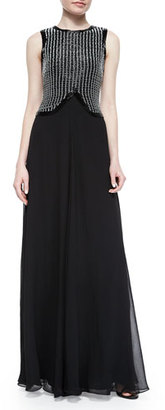 Armani Collezioni Embroidered-Bodice Chiffon Gown, Black/White $2,195 thestylecure.com