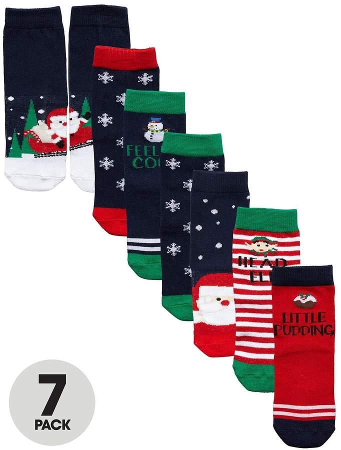 Mini V By Very Boys 7 Pack Christmas Scene Novelty Socks
