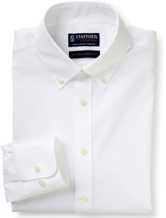 Jcpenney stafford signature non iron 100 cotton pocketed for Where to buy stafford dress shirts