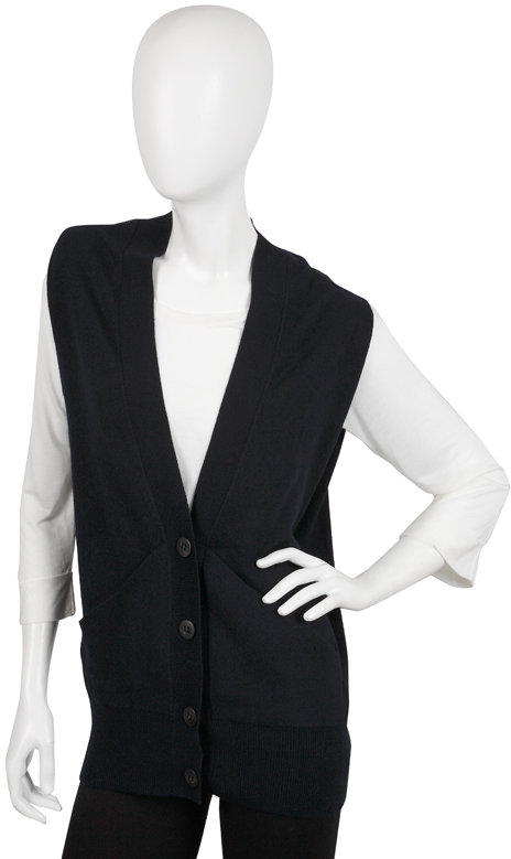 Vince Deep V Sweater Vest in Coastal Blue