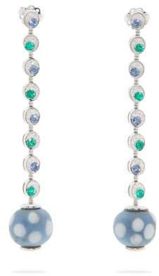 Francesca Villa 18kt White Gold And Venetian Eye Bead Earrings - Womens - Multi