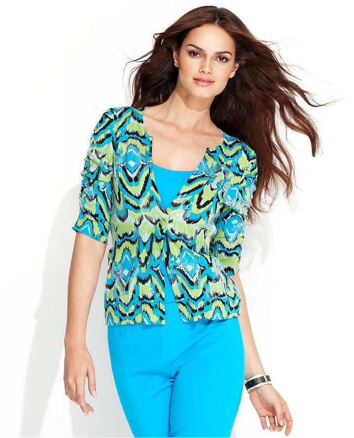 INC International Concepts Petite Sweater, Short-Sleeve Printed Cardigan