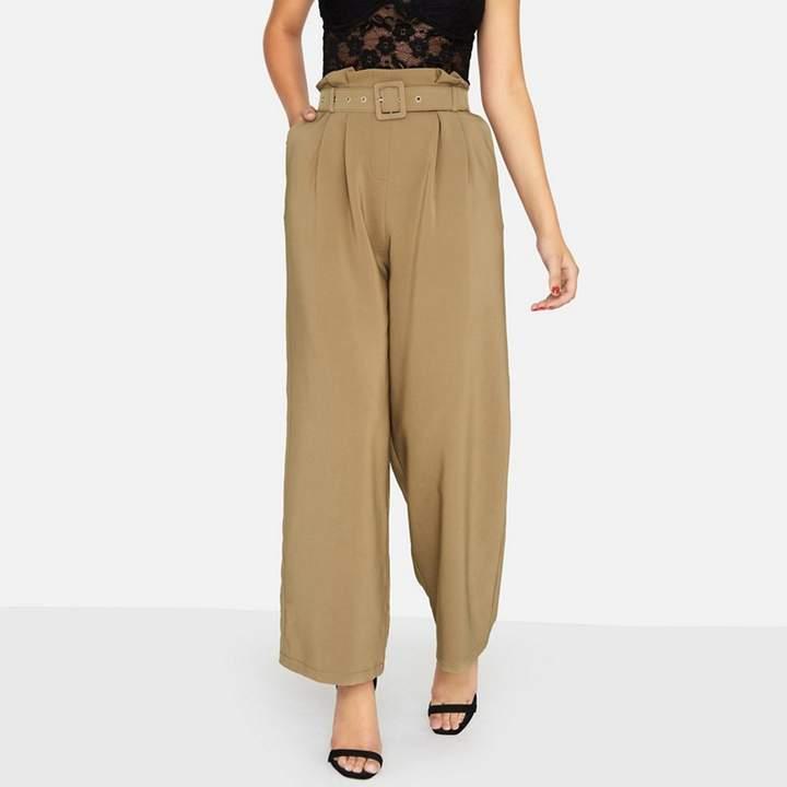 Khaki Arlo Paperbag Trousers