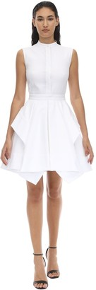 Alexander McQueen PEPLUM COTTON PIQUET MINI DRESS