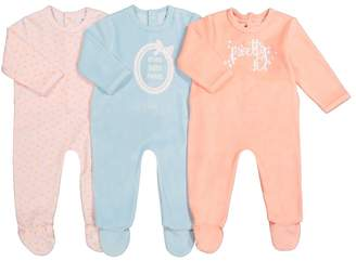 La Redoute COLLECTIONS Pack of 3 Cotton Mix Slogan Print Sleepsuits, Birth-3 Years