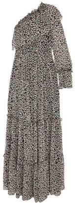 MSGM One-Shoulder Printed Silk-Georgette Maxi Dress