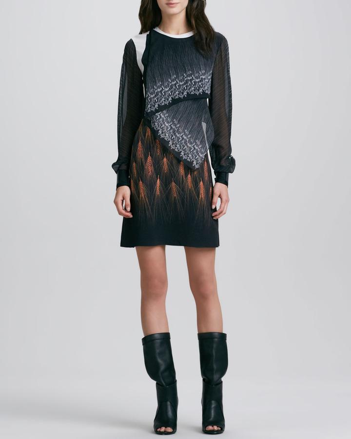 3.1 Phillip Lim Draped Mixed-Print Long-Sleeve Dress