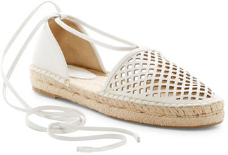 Frye Leo Perforated Ankle Wrap Espadrille Flat $178 thestylecure.com