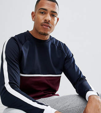 Asos Design DESIGN Tall relaxed longline long sleeve t-shirt with curved hem and contrast yoke