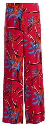 Diane von Furstenberg Harlow Floral Print Wide Leg Trousers - Womens - Pink Print