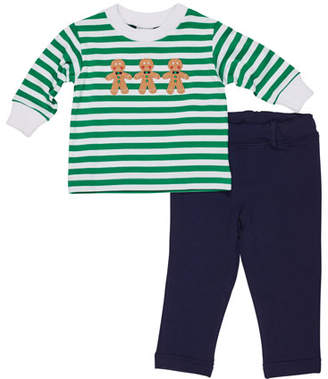 Florence Eiseman Striped Gingerbread Man Top w/ French Terry Pants, Size 3-24 Months