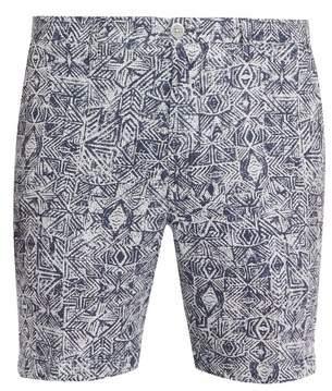 120% Lino Aztec-print straight-leg shorts