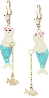 Betsey Johnson Women's Crabby Couture Purmaid and Fish Drop Earrings