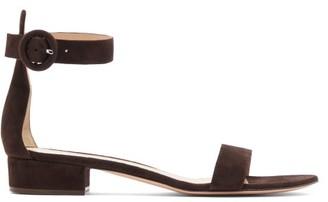 Gianvito Rossi Portofino 20 Block Heel Suede Sandals - Womens - Dark Brown