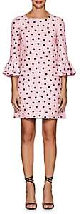 Valentino Women's Heart-Print Wool-Silk Flounce-Sleeve Shift Dress - Pink