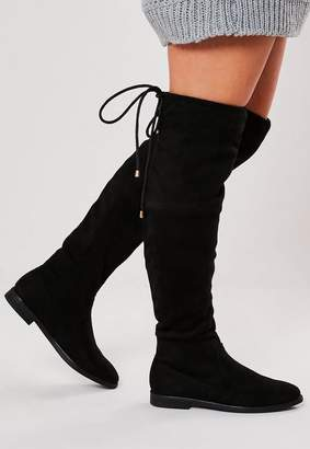 Missguided Black Over The Knee Flat Boots