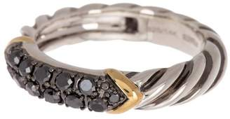 Effy Sterling Silver & 18K Gold Black Diamond Pave Ring - 0.45 ctw - Size 7