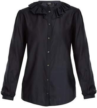 A.P.C. Josephine ruffled-collar cotton-blend blouse