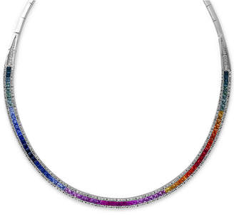 Effy Watercolors by Multi-Sapphire (10 ct. t.w.) and Diamond (1-1/5 ct. t.w.) Collar Necklace in 14k White Gold