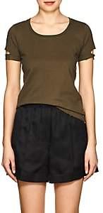 Helmut Lang Women's Distressed Cotton T-Shirt - Green