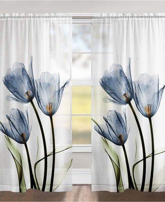 "Blue Tulip Trio 84"" Sheer Window Panel"