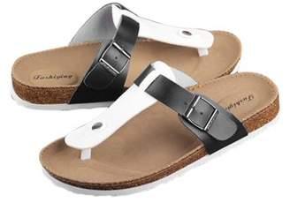 OCDAY Women Buckle T Strap Sandal Footbed Sandals Flat Platform Flip Flops Shoes