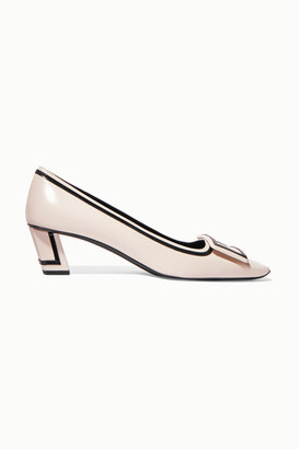 Roger Vivier Belle Vivier Graphic Patent-trimmed Leather Pumps - White