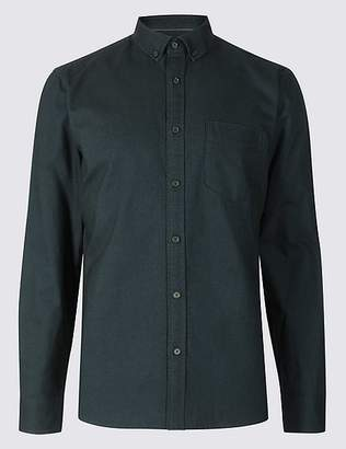 Marks and Spencer Pure Cotton Slim Fit Oxford Shirt with Pocket