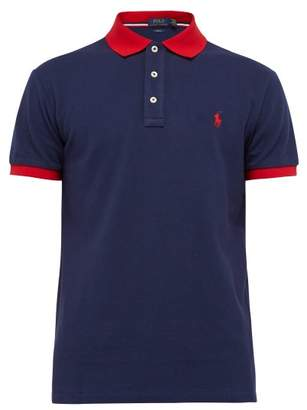 Polo Ralph Lauren Logo Embroidered Cotton Pique Polo Shirt - Mens - Navy