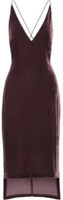 Dion Lee Asymmetric Velvet Midi Dress - Merlot