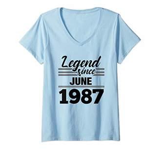 Womens 32nd Birthday Gift Legend Since June 1987 V-Neck T-Shirt